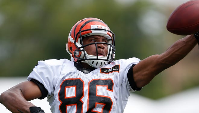 Cincinnati Bengals wide receiver James Wright stretches for the ball during training camp downtown. The Enquirer/Jeff Swinger