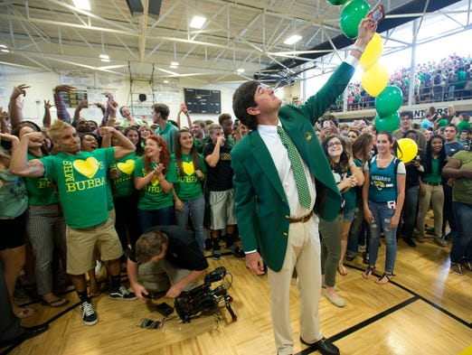 Pro Golfer Bubba Watson takes a selfie to commemorate his visit to Milton High School Thursday afternoon.