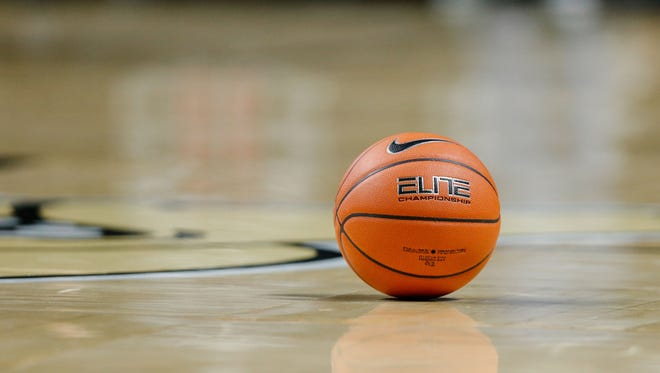 A basketball lays on the court during a timeout in the second half of the game between the Wake Forest Demon Deacons and the Charlotte 49ers at Lawrence Joel Veterans Memorial Coliseum on Dec. 6, 2016.