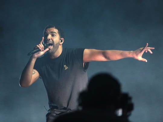 Drake performs during the first weekend of the Coachella Valley Music and Arts Festival in Indio on Sunday.