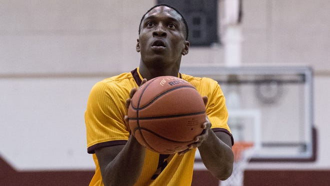 Salisbury University guard Gary Briddell (5) lines up for a foul shot during a game against Washington College on Wednesday, Nov. 15, 2017.
