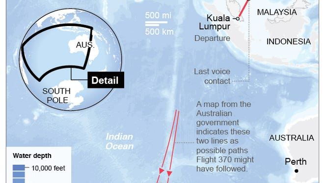 Map shows search areas for missing Malaysia Airlines missing jet.