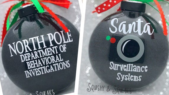 A Santa Surveillance Systems ornament by Louisiana mom Heather Brewer is one of many Santa Cam options on Etsy.