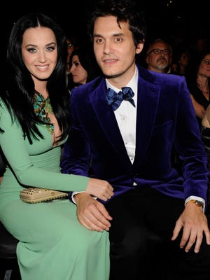 Katy Perry and John Mayer attend the 55th Grammy Awards at the Staples Center on Feb. 10, 2013, in Los Angeles.