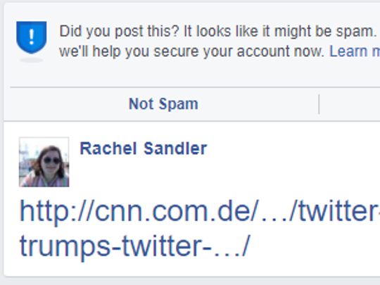 When posting certain links, Facebook asks users if