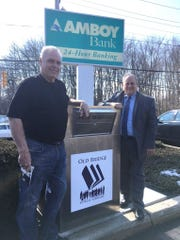 Ward 6 Councilman John Murphy (left) and Old Bridge Chamber of Commerce President Vincent Blasi at the book drop.