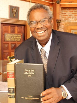 State Sen. Hank Sanders, who plans one more term in the Legislature, uses his law books for reference material. Alvin Benn/Special to the Advertiser