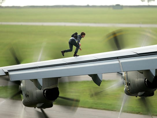 Tom Cruise in a scene from the upcoming 'Mission Impossible:
