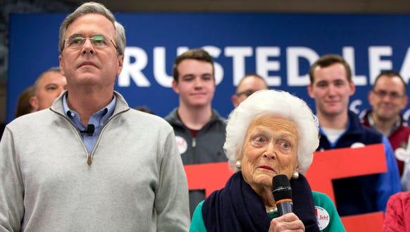 Jeb Bush and Barbara Bush campaign in Derry, N.H.,