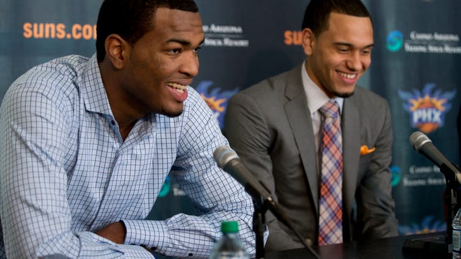 Suns draftees T.J. Warren (left) and Tyler Ennis speak during a news conference at US Airways Center on June 27, 2014.