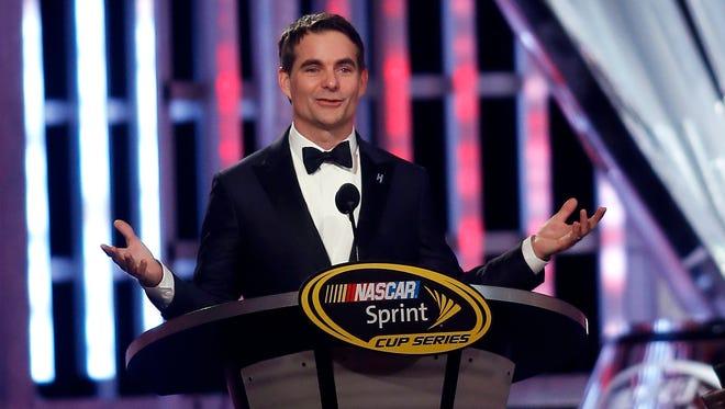 Jeff Gordon speaks during the NASCAR Sprint Cup Series auto racing awards Friday, Dec. 4, 2015, in Las Vegas.