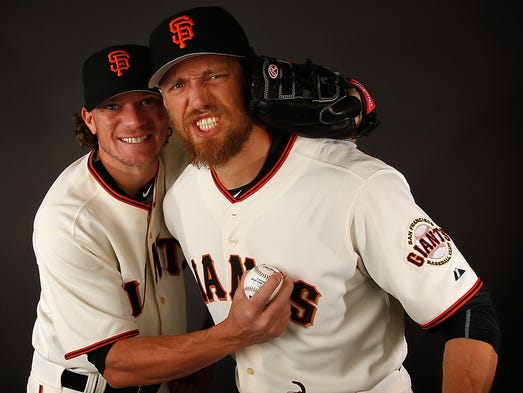 Jake Peavy and Hunter Pence, Giants