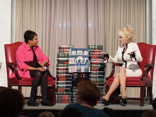 Dolly Parton, right, with Librarian of Congress Dr.