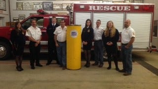 Members of the Northeastern FFA Chapter presented a grain rescue tube recently to the Fountain City Volunteer Fire Department.