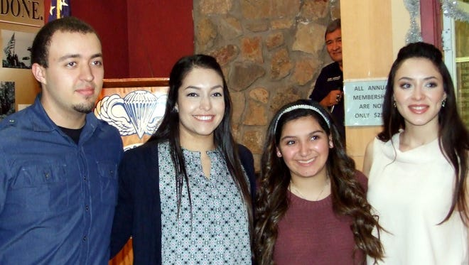 From left, Brandon M. Rodriguez, Laura Trevizo, Ashley N. Shamaley and Savannah F. Cornejo were among the students given scholarships by the local chapter of the 82nd Airborne Division Association.