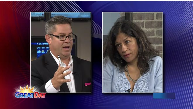 Rekha Basu and Jason Parkin challenge each other on the set of KCWI's morning show.