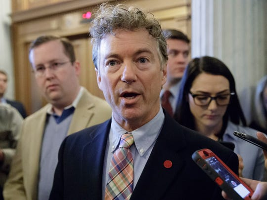 Sen. Rand Paul speaks to reporters on Capitol Hill