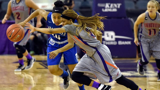 Camary Williams of the University of Evansville comes up with a steal from Tierra Webb of Indiana State during the second quarter of the game at the Ford Center in Evansville Friday.