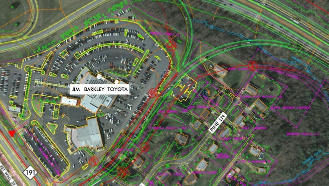 A new Interstate 26 ramp, which will loop behind the Jim Barkley Toyota dealership, should be finished in 2018.`