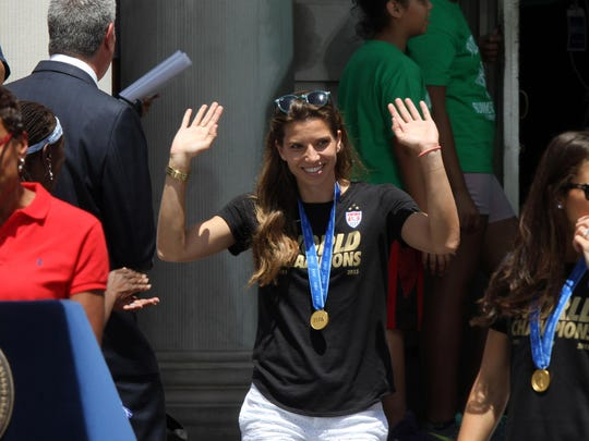 FIFA World Cup Championship team member Tobin Heath arrives for a ceremony outside City Hall in New York City Friday, July 10, 2015.