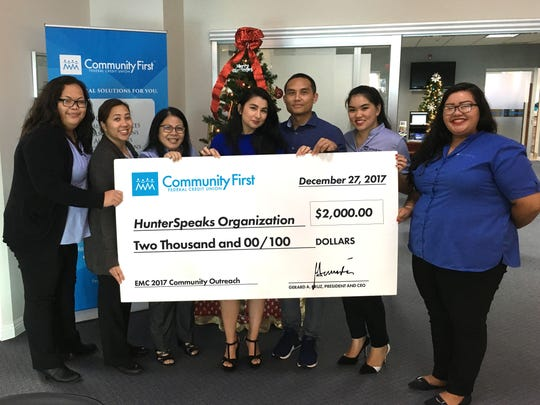 Community First Guam Federal Credit Union's Employee Morale Committee recently donated $2,000 to HunterSpeaks Autism Organization, a non-profit organization with the goal of creating an autism treatment center on Guam. Pictured from left: Zacquleen Dela Cruz, Alberta Mendiola, Bernice Manibusan, Tanya Duenas, Dr. Vincent S. Duenas, Patrice Apiag, and Ha'ane San Nicolas.