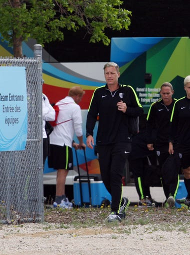 Abby Wambach arrives for training in preparation for the 2015 Women's World Cup at Waverly Soccer Complex.