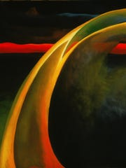 'Red and Orange Streak' (1919) is an oil on canvas paining by Georgia O'Keeffe (American, 1887-1986).