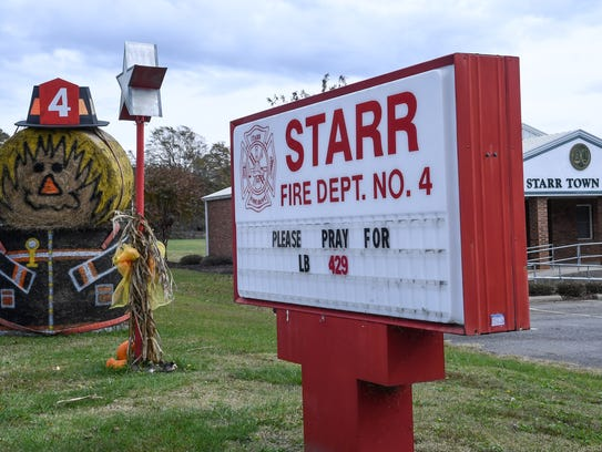 "Starr fire station has added a message to its sign asking for prayers for ""L.B.,"" the nickname of firefighter Joseph Blanton. Blanton, 18, was hurt in a car crash Monday."