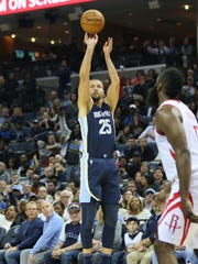 Oct 28, 2017; Memphis Grizzlies forward Chandler Parsons (25) shoots a three point shot against the Houston Rockets in the third quarter at FedExForum.