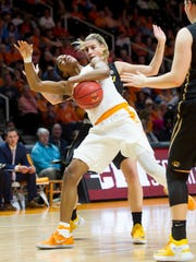 Tennessee's Diamond DeShields, front, battles for the ball with Missouri's Lindsey Cunningham on Thursday at Thompson-Boling Arena.