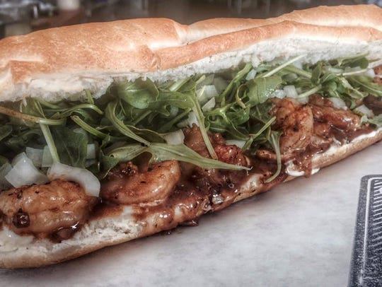 The BBQ shrimp po'boy from Pop's Poboys is available