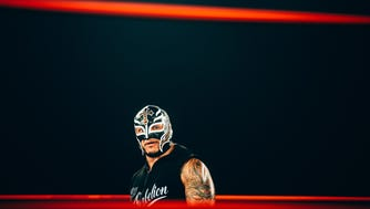 Rey Mysterio performs at a recent Aro Lucha wrestling show.