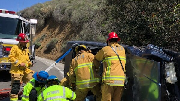 One person was rescued from a vehicle after a rollover crash along Potrero Road in Newbury Park on Tuesday.