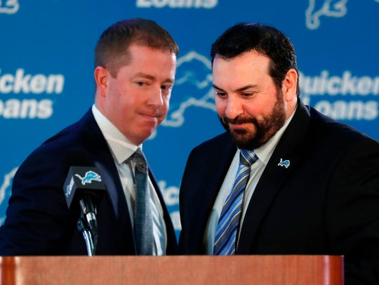 In this Feb. 7, 2018, file photo, Matt Patricia, right,