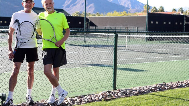 Les Wheeler (left) and Bob Crebo (right) will play in a same-gender couples division in the family category of a U.S. Tennis Association event this weekend in Palm Springs. This is the first time for a same-gender division in a USTA event.