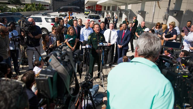 Broward County Sheriff Scott Israel addresses the shooting at the Fort Lauderdale - Hollywood International Airport in Fort Lauderdale, Fla. on Saturday, January 7, 2017.