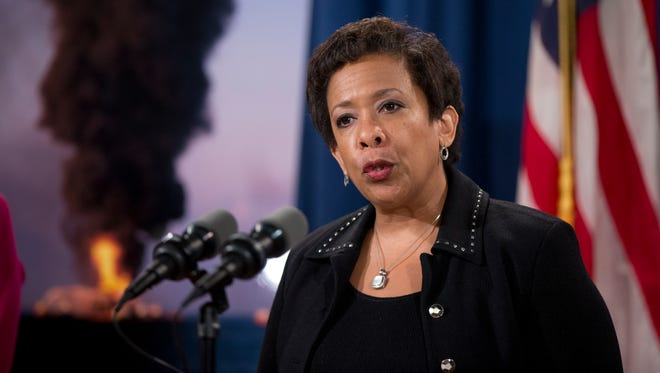 Attorney General Loretta Lynch, speaks during a news conference at the Department of Justice in Washington, Monday, Oct. 5, 2015, to announce resolution of federal and state claims against BP for the April 2010 Deepwater Horizon oil spill, and the restoration of natural resources in the Gulf of Mexico. The Justice Department and five states have finalized a settlement of more than $20 billion arising from the 2010 Deepwater Horizon oil spill in the Gulf of Mexico.