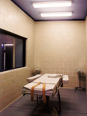 A question has arisen over whether Arizona has the necessary drugs to resume executions by lethal injection.  Here, photographed in 1993, is the lethal-injection execution chamber at the Arizona State Prison Complex-Florence.