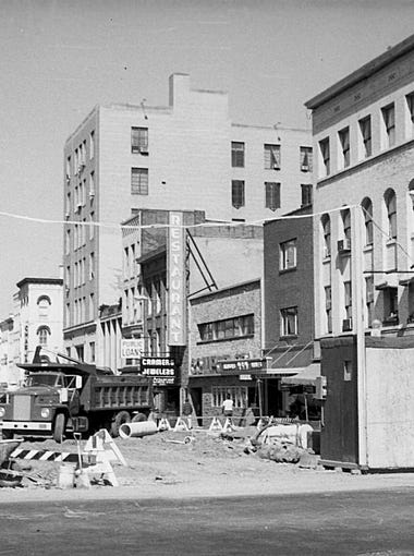 The Ithaca Commons during its construction in 1974 as seen from the Aurora and E. State Street intersection.