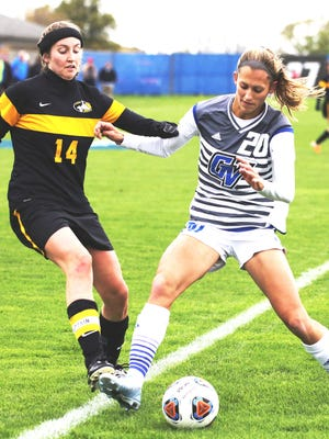 Grand Valley State's Gabriella Mencotti (right) is looking for a chance to play in the National Women's Soccer League.