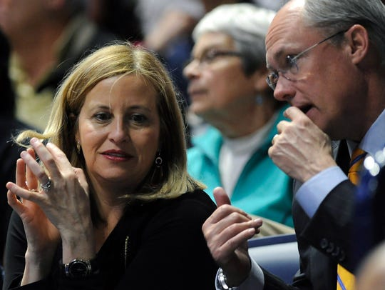Nashville Mayor Megan Barry talks to Rob Forrest, a