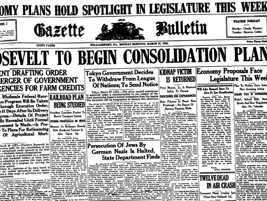 The March 27, 1933, front page of the Gazette Bulletin