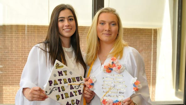 Jaclyn Burrows (left) and Haley McInnis, pose for a