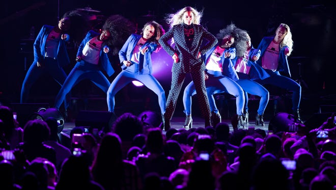 Beyonce performs Nov. 4, 2016, during a campaign rally for Democratic presidential nominee Hillary Clinton in Cleveland.