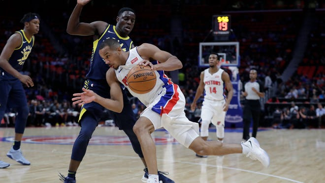 Detroit Pistons guard Avery Bradley drives on Indiana Pacers guard Darren Collison during the first half of an NBA basketball game, Wednesday, Nov. 8, 2017, in Detroit.