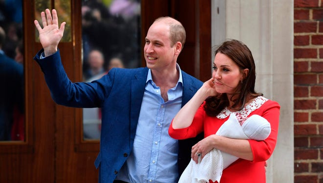 Prince WilliamDuchess Kate of Cambridge show their newly-born son, their third child, to the media outside St. Mary's Hospital in London, on April 23, 2018.
