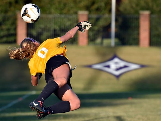 The Furman University women's soccer team practices in preparation for the SoCon tournament on Wednesday, October 29, 2014.