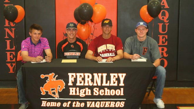 Four Fernley High School athletes signed letters of intent to continue their careers in college. From left, Justice Ackerson signed to play golf at Southwest Oregon Community College, Kevin Montgomery to play football at Eastern Oregon University, Gavin Henderson to play baseball at Arizona Western College, and Shane Kelso to play baseball at Western Nevada College.