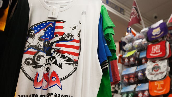 A shirt is among the few U.S. soccer items left at J.P. Sports at the Edison Mall in Fort Myers.