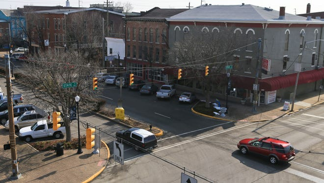 The view of Market Street - which currently is one-way - near State Street in downtown New Albany. Many residents want several one-way streets in downtown to revert to two-way.